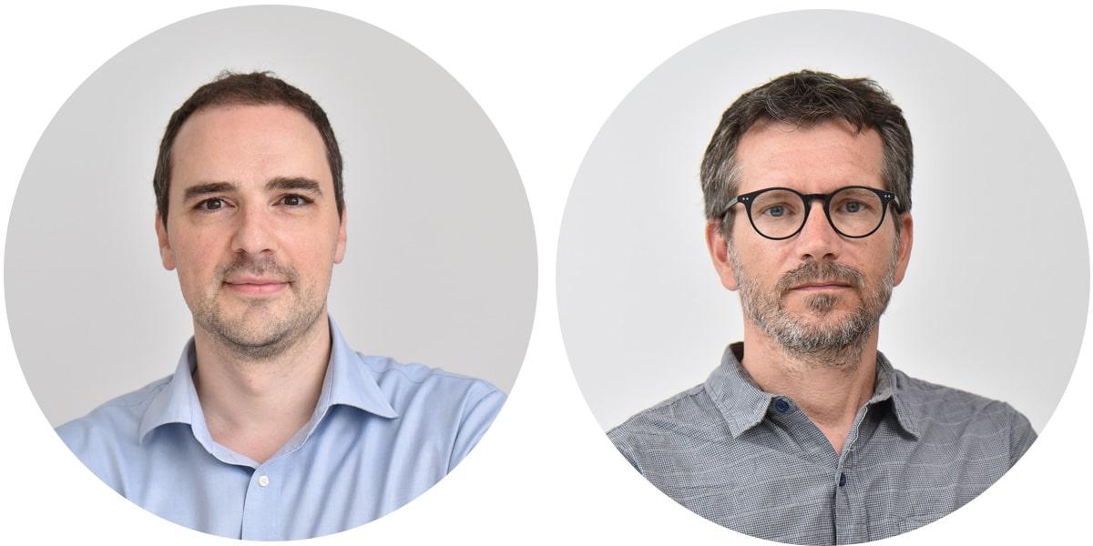 Jean-François Castel et Mathieu Pesme, fondateurs de l'agence Cubedesigners